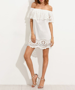 Sexy Off Shoulder Slash Neck White Lace Mini Slim Sundress Latest Casual Summer Women Cut-Out Ruffle Dress