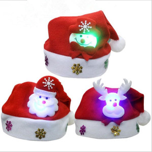 red Christmas Top Grade Short Plush Christmas Hat kids adults With lights Christmas Hat Santa Claus Hat