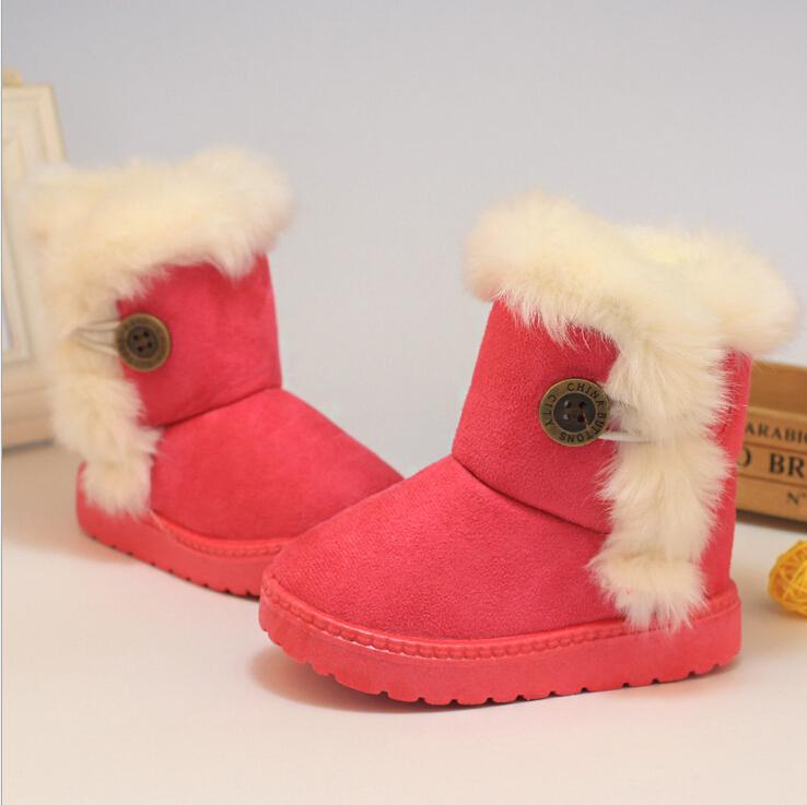 2016 Winter Children Boots Thick Warm Shoes Cotton Padded Suede Buckle Boys Girls Boots Boys Kids