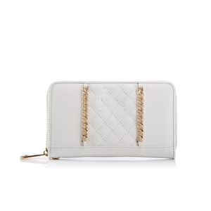 New Designer Shopping Site Cream And Gold Chain Women Leather Clutch Wallet Bag