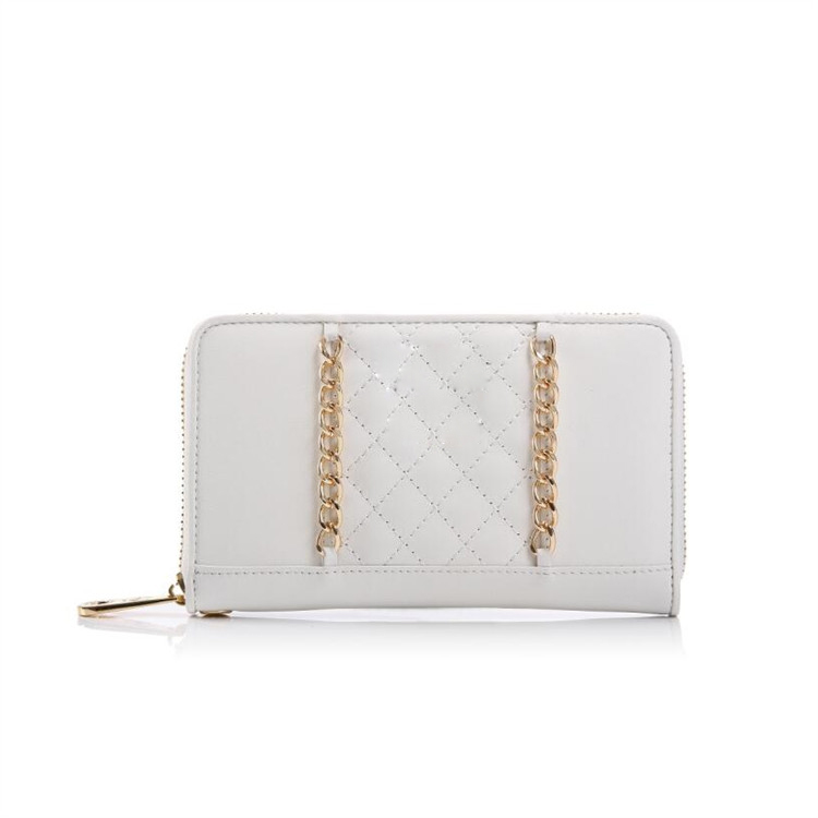 UK New Designer Hot Sale Shopping Site Cream And Gold Chain Women Small Leather Clutch Wallet Bag
