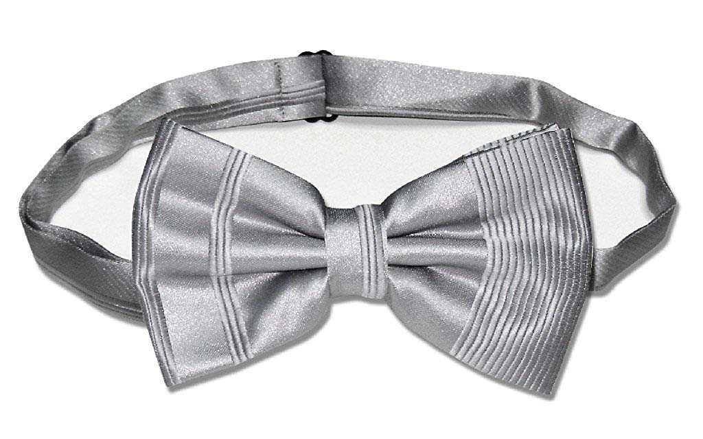 Vesuvio Napoli BOWTIE SILVER GRAY Striped Woven Grey Color Design Men's Bow Tie