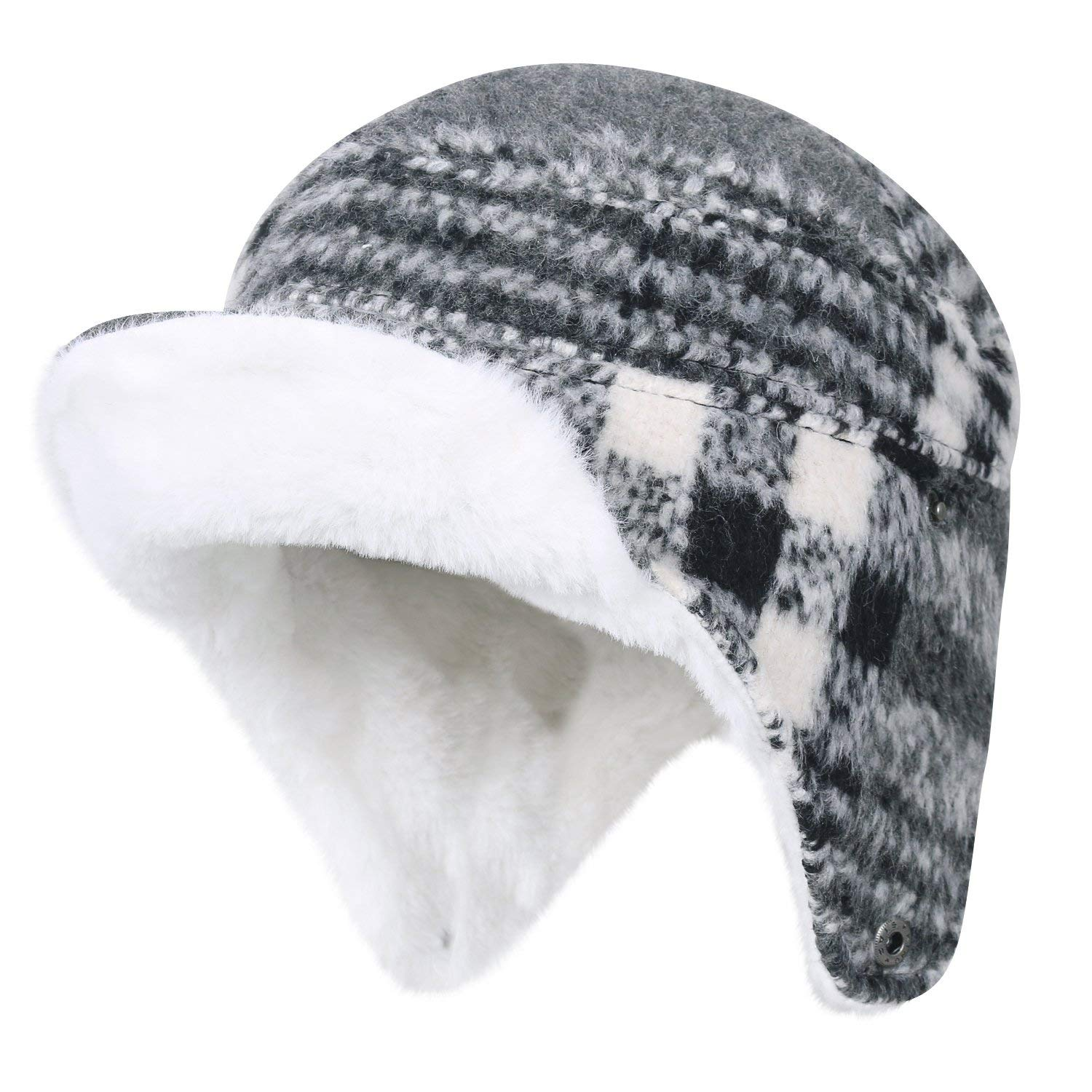 3fb2fcbc0150a Get Quotations · ililily Wool Blend Plaid Pattern Aviator Trapper Trooper Faux  Fur Ear Flaps Hat