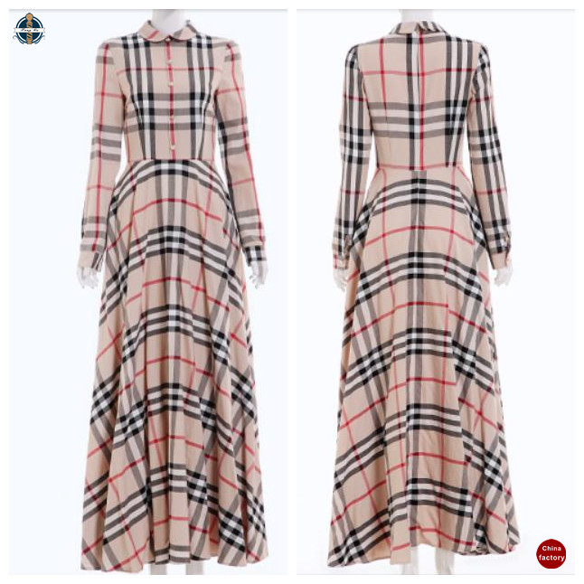 T-D605 China Factories Women Plaid Long Sleeve Fashion Muslim Dress