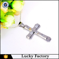Men's Cross pendant - High polished shine Cool Simple Cross pendant necklace with Chain