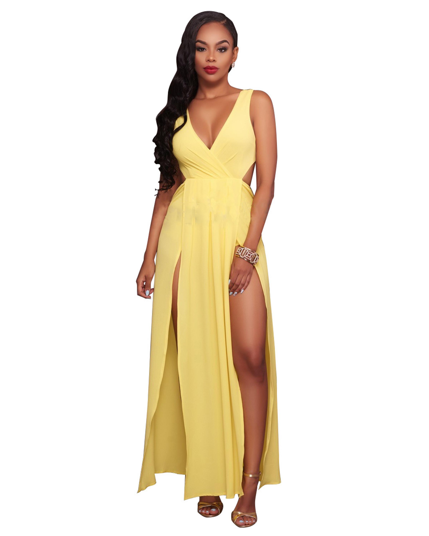 Gelb Sleeveless Reizvolle tiefe V-ansatz Backless Kleid/Nacht kleid ...
