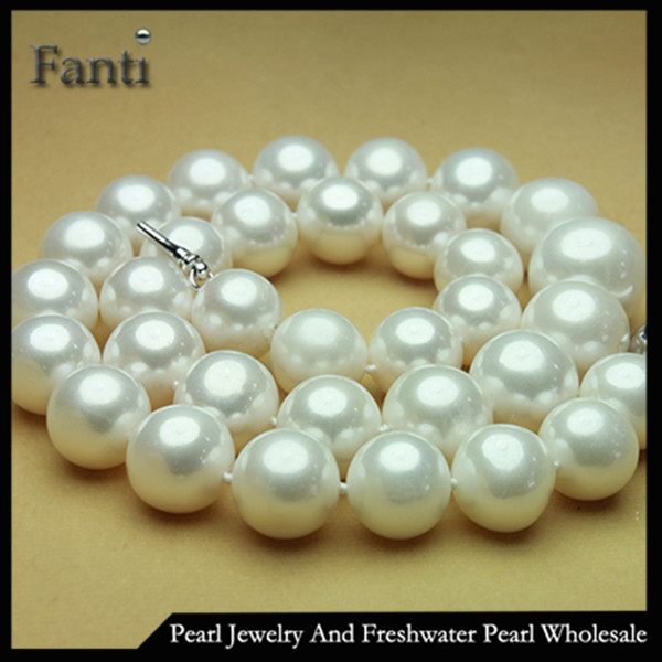 Large pearl necklace/12-15mm AAA+ round real freshwater pearl strand necklace