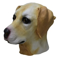 Latex Adult Halloween Costume Accessory Full Overhead Golden Dog Animal Labrador Mask