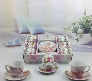 Wholesale rose decal printing bone tea set espresso cup porcelain 6 coffee cups and saucers gift set cake dessert tray 3.4oz