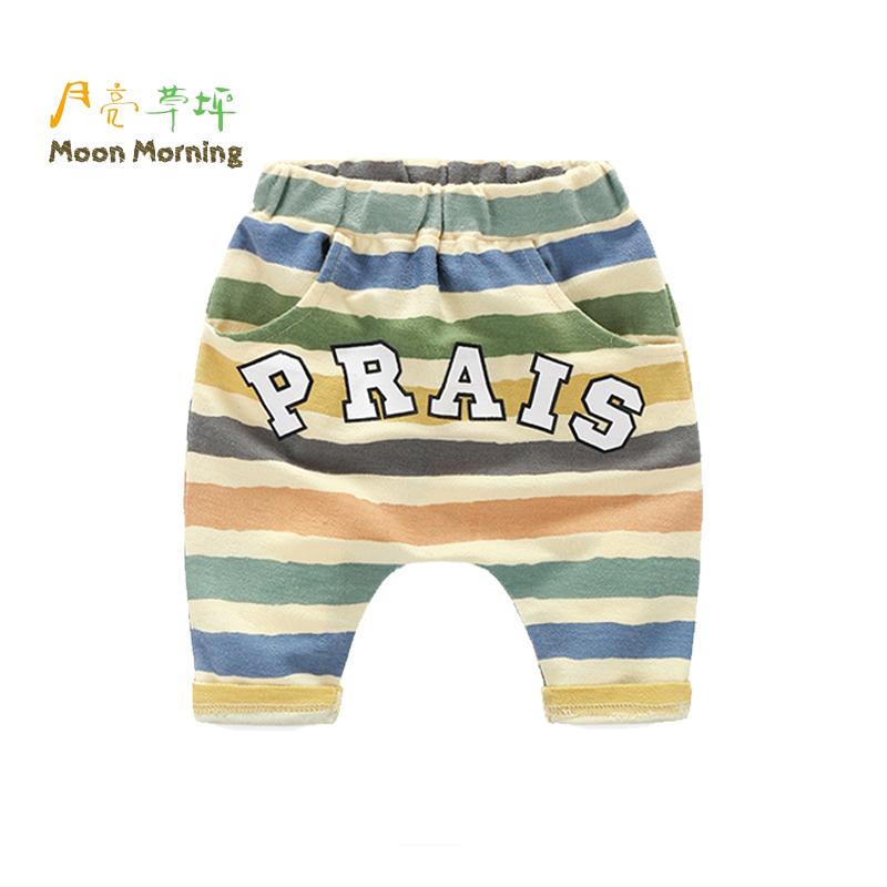 Moon Morning Summer Style Boys Shorts Cotton Straight Print Elastic Waist Gray Brand Design Children Clothing
