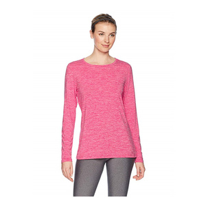 OEM China Supplier Wholesale Clothing Women Pink Heather T-Shirts Ladies Polyester Stretch Long-Sleeve Running T-Shirt