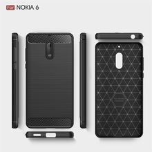 tpu carbon fiber protective back case cover for nokia 6 cell mobile phone accessories