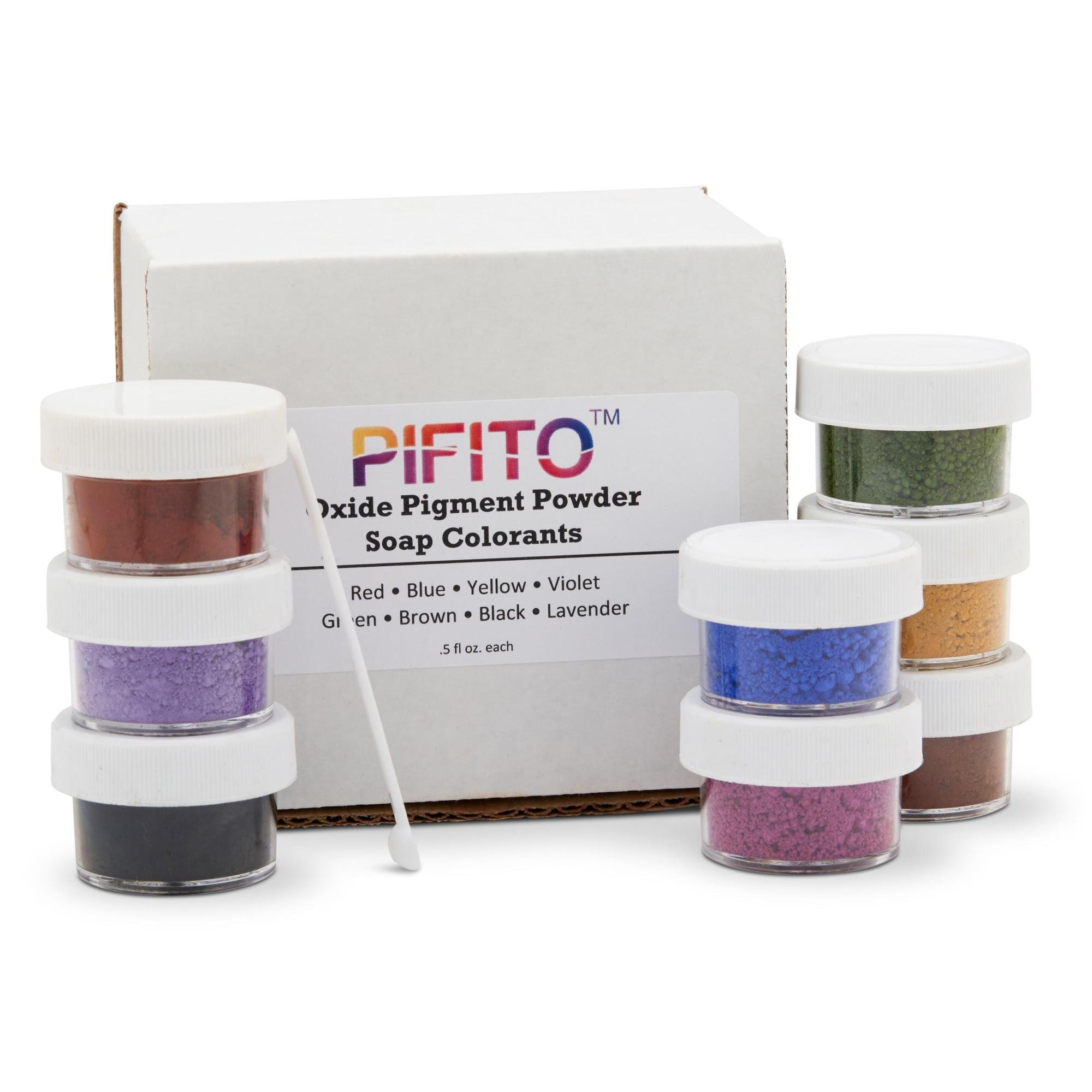 Premium Oxide Pigment Powder Colorants Set - 8 Beautiful Colors for Hand Soap Making Kit (.5 oz ea) - Red, Blue, Yellow, Lavender, Green, Brown, Black, Violet - Non Bleeding Colorant
