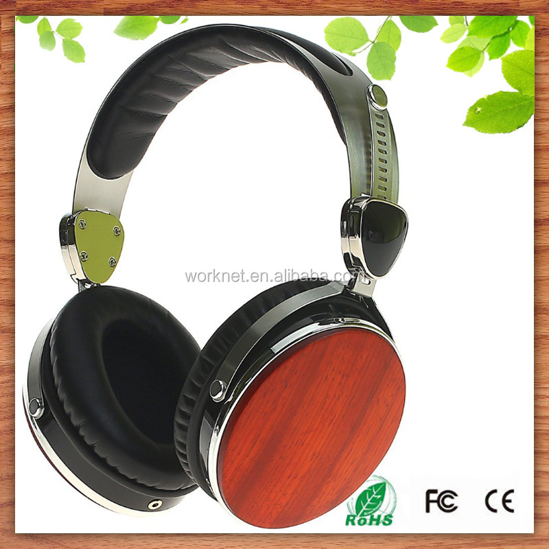 New hot products 2016 wired <strong>communication</strong> and 3.5mm connectors professional wooden headphone headset wholesale