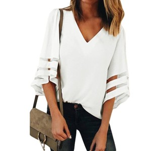 Summer Sexy Women Tops and Blouses 2018 Loose Female Shirts Lady Flare Sleeve V Neck Woman Blouse & Top v251204