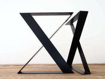 X Shape Flat Steel Leg High Quality Metal Black Coffee Table 28 Inch