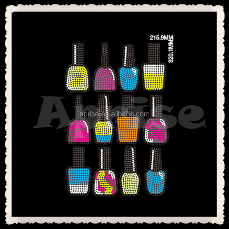 Colorful nail polish hotfix rhinestone transfer motifs