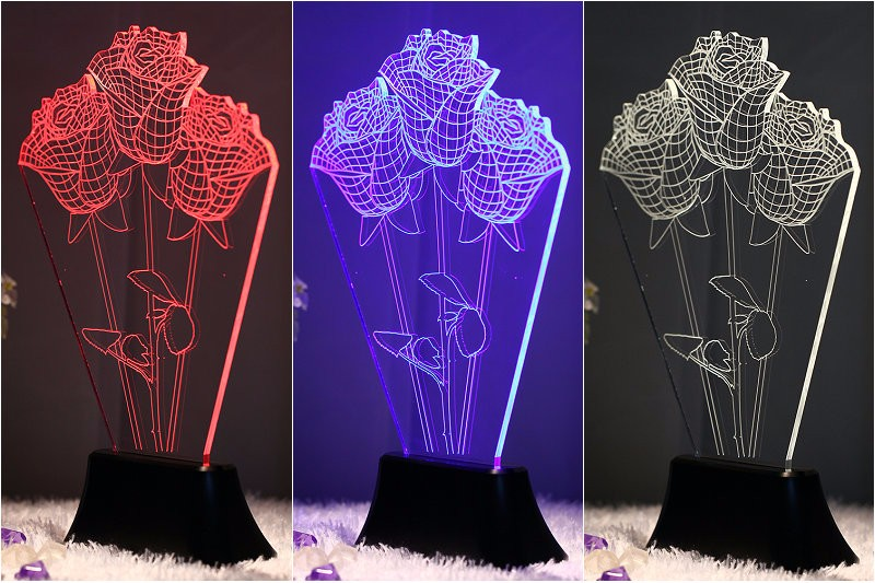 Fantastic Gift 3D LED Lamp 3D Skull illusion Bedroom Night Touch 7 color change LED USB desk table light lamp