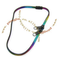 rainbow color plastic zipper hair Ribbon