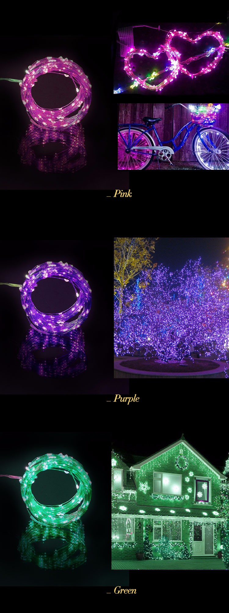 Outdoor String Lights That Change Colors : Hot Selling Color Changing Outdoor Battery Operated Led Christmas Copper Wire Mini Led String ...