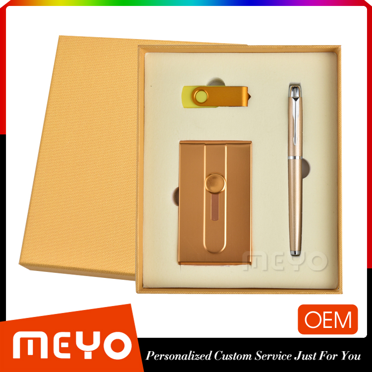 Golden business gift set with power bank ball pen USB flash stick