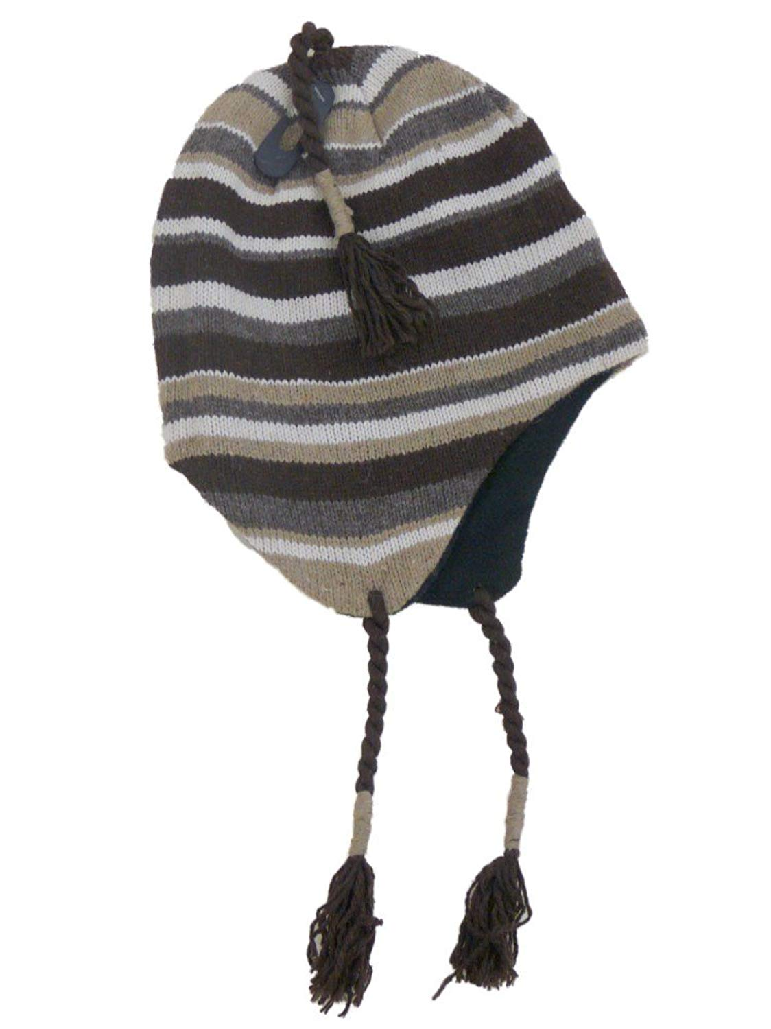 3b39f5be1a27ec Get Quotations · Igloos Mens Brown Striped Peruvian Style Trapper Hat  Fleece Lined
