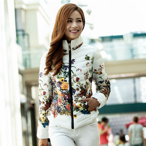W27051 stand collar short top selling five colors white printing down jacket