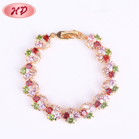 Lady Copper Alloy Fashion Gold Hand Chain Druzy Bracelet