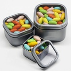 Wholesale Square Metal Tin Box with Clear Window Lid for Candy Mints Tin Can