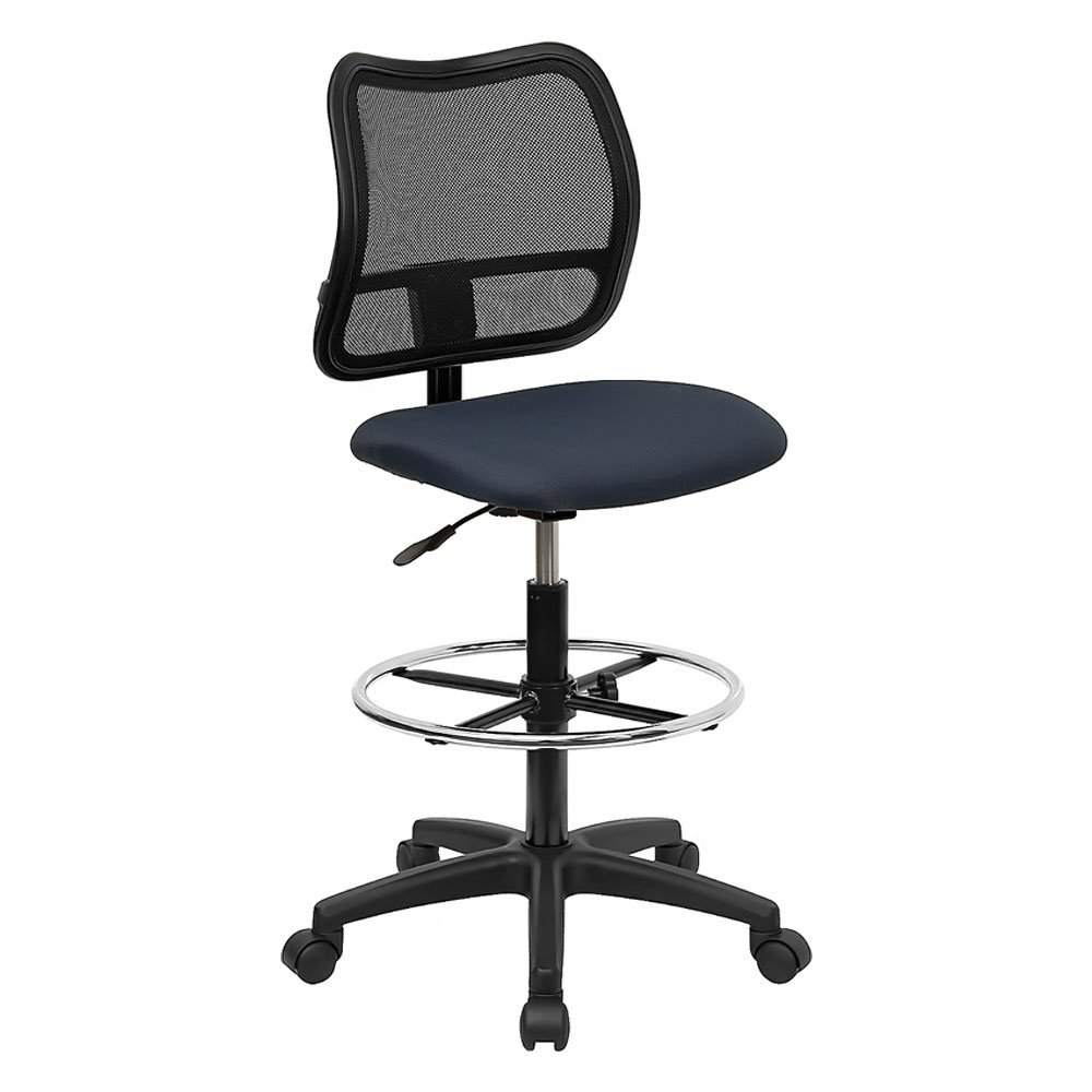 Offex OF-WL-A277-NVY-D-GG Mid-Back Mesh Drafting Stool with Navy Blue Fabric Seat