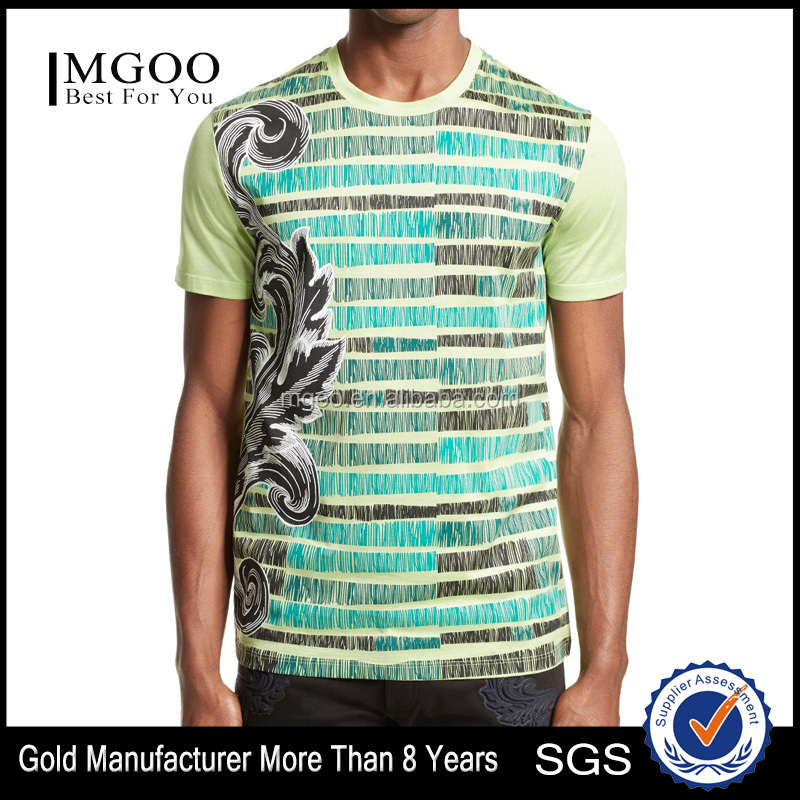 Male Short Sleeve Formal Shirts Sketch Baroque T-shirt with Fine Jersey Knit Cotton Mens Tees Custom Wholesale