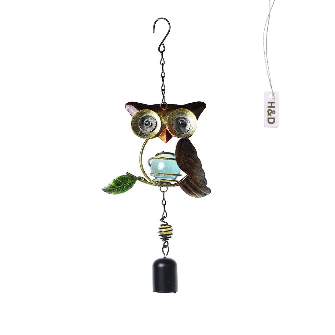 H&D Amazing Champagne Owl Bells Copper Yard Garden Outdoor Living Wind Chimes Decor