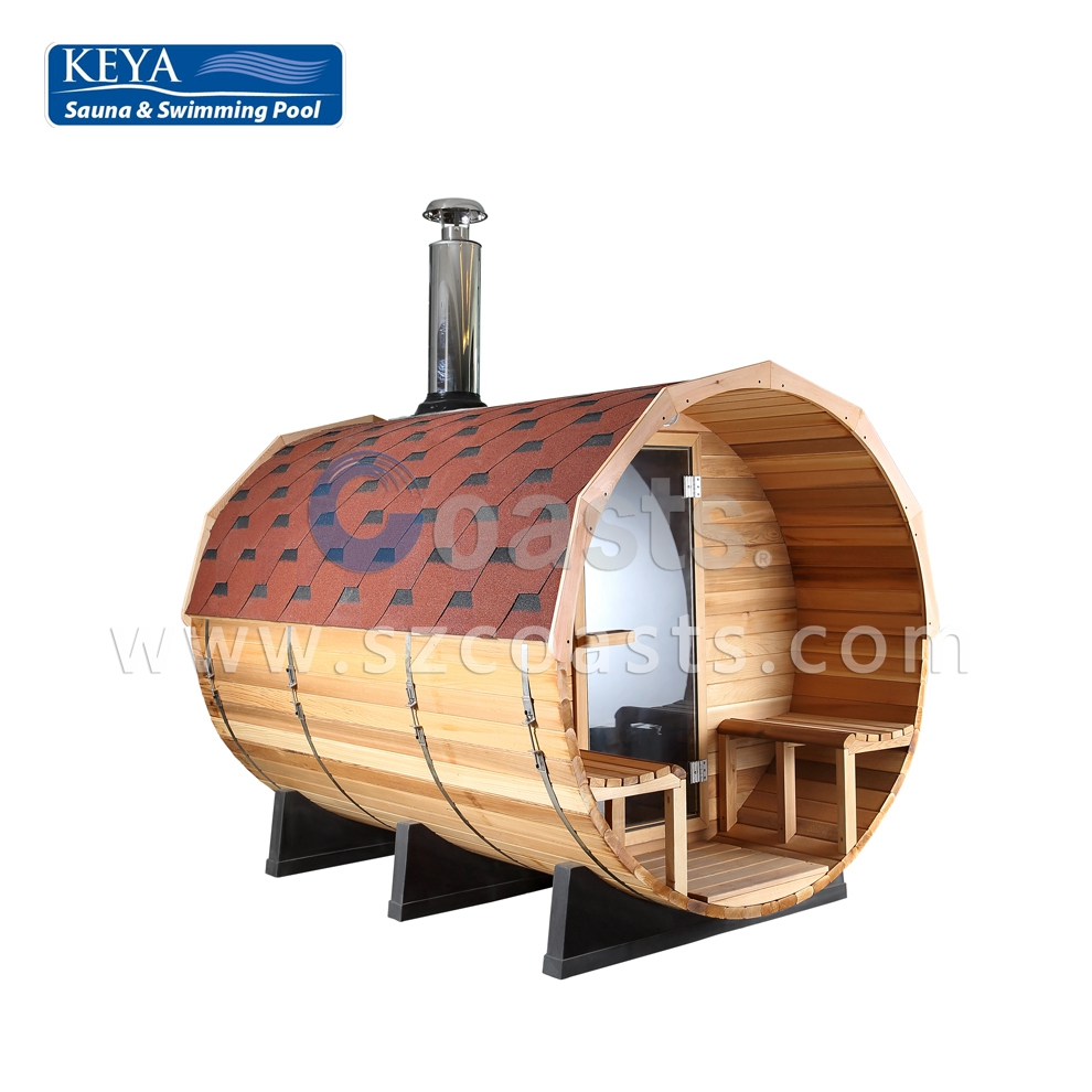 KEYA Coasts 4-6 person outdoor barrel wooden sauna with fiber glass tile