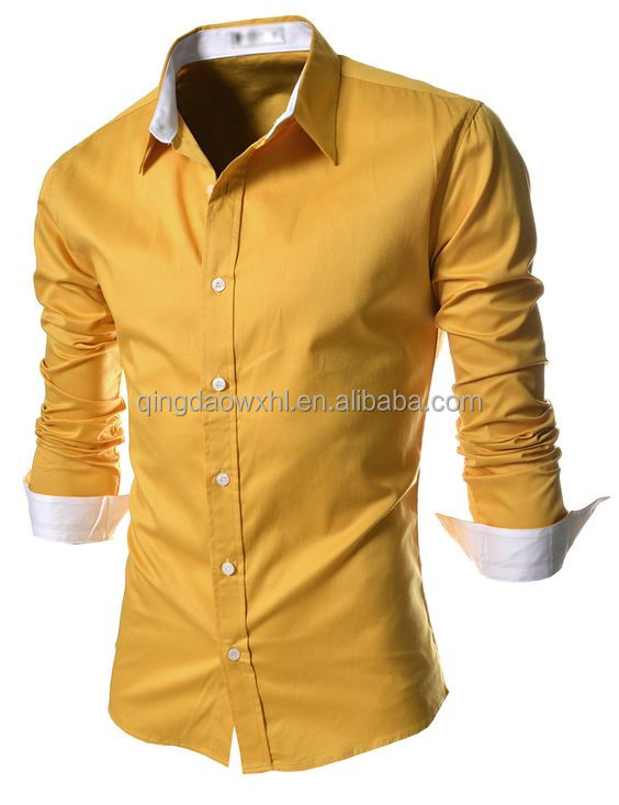 high quality yellow slim fit wear custom long sleeve men <strong>shirt</strong>