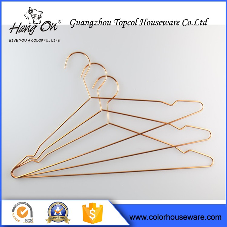 Popular Chrome Metal Clothes Metal Wire Hanger In Copper