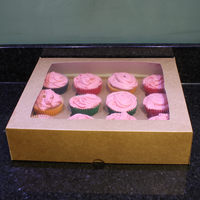 Custom kraft cupcake boxes with paper insert