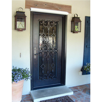 High Quality Iron Single Door Design Wrought Iron Entry Door