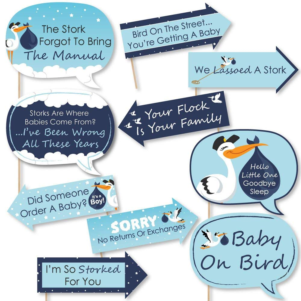 Big Dot of Happiness Funny Boy Special Delivery - Blue It's A Boy Stork Baby Shower Photo Booth Props Kit - 10 Piece