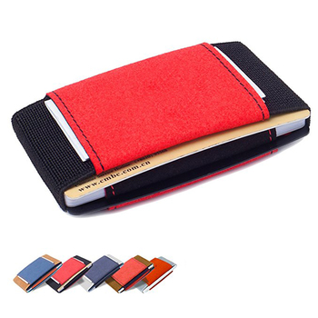 Mini Front Pocket Wallet Genuine Leather Credit Card Holder Minimalist Slim Wallet With Elastic