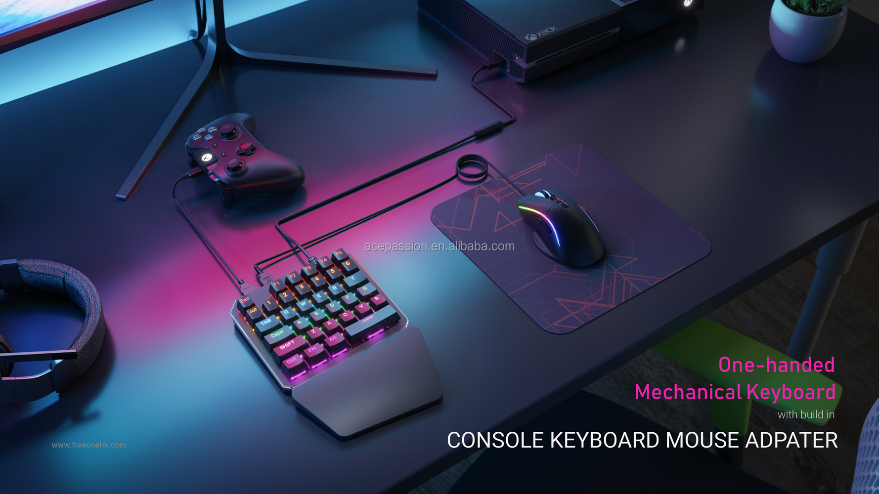 Mechanical Keyboard with built-in Keyboard & Mouse Adapter