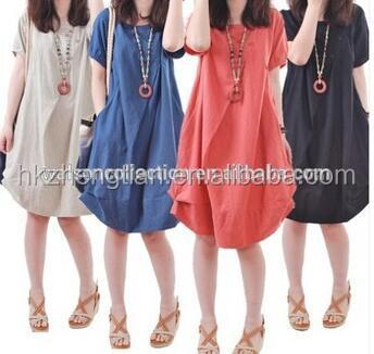 e3e7ce0d808 good quality Plus size Clothing Women 5 Colors Linen Blend Casual Cotton Dresses  Women Bohemian Loose