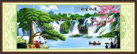 """Green hills & Blue waters "" New 5D round crystal diy diamond painting"