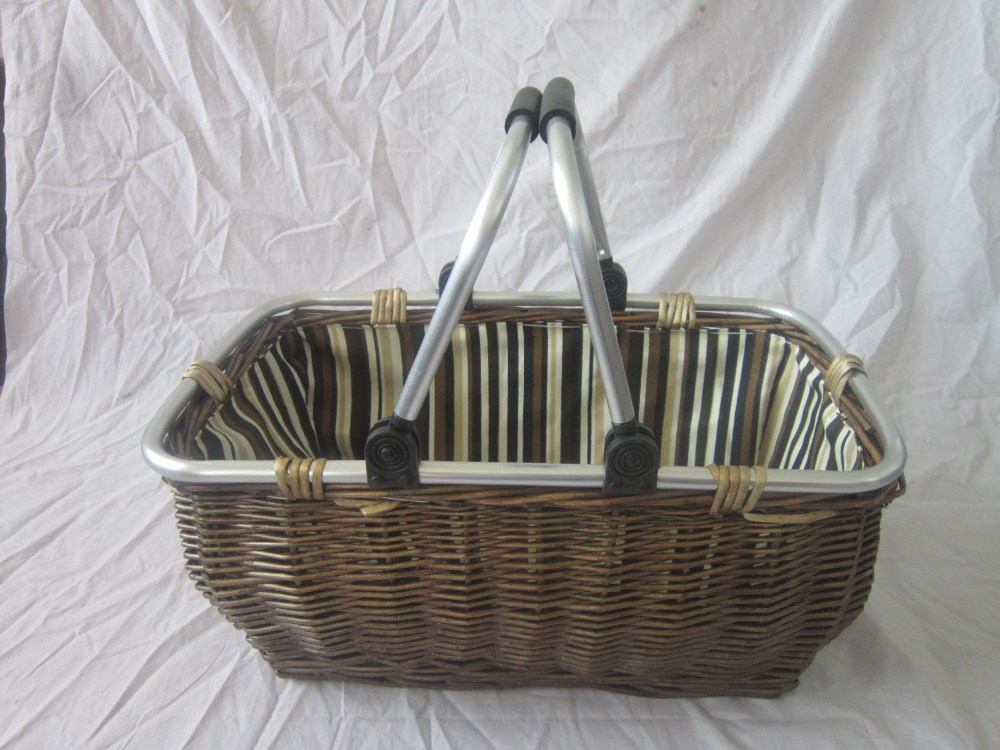 SINGLE SHOPPING BASKET ,LIGHT OAK COLOUR METAL MOVED HANDEL,FABRIC INSIDE