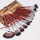 2018 New Design Portable Cosmetic Tools Makeup Brushes Set with Glitter Leather Bag