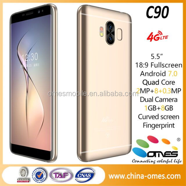 MTK6737 Quad core, 5.5inch 18:9, Android 7.0 Nougat, 3D Finger print, 3 cameras 4g edge mobile phone