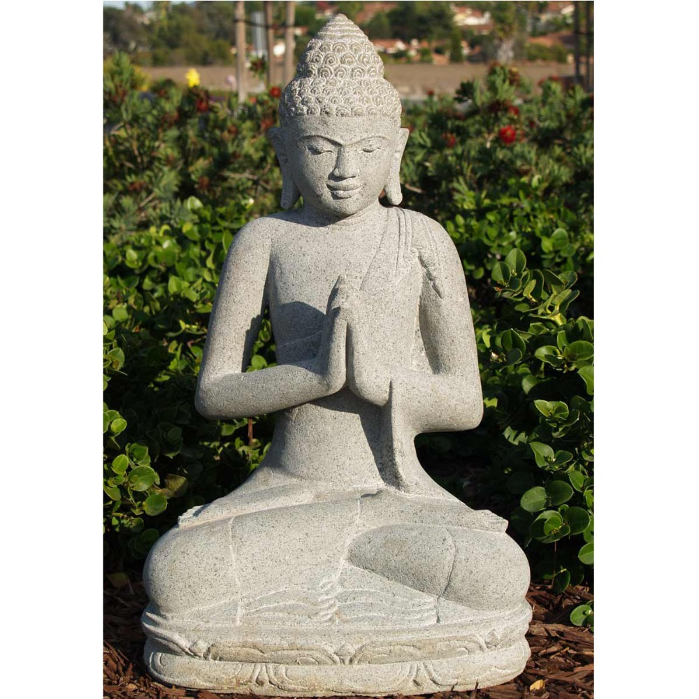 Grey Stone Finished Blessing Buddha Meditating Peace Harmony Statue Collectors Items