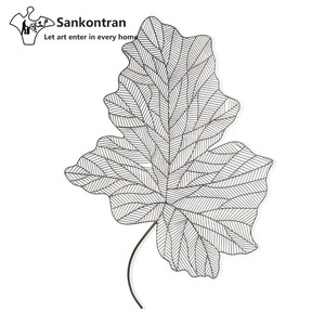 Handmade Home Decor Abstract Large Metal Wire Leaf Wall Art