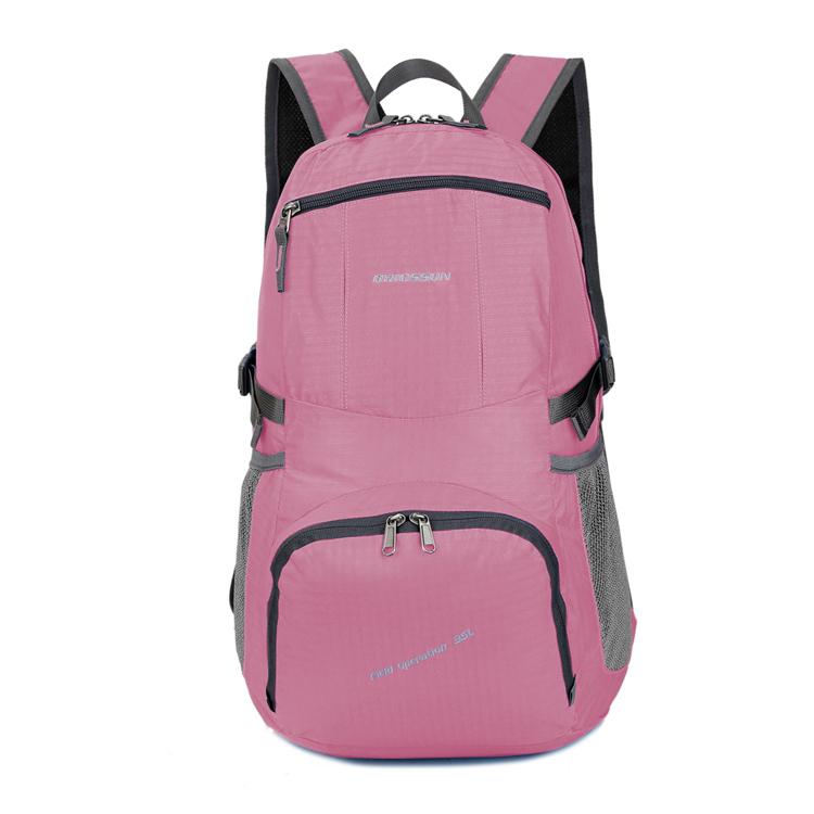 cb3ddb238 Nuevo diseño rosado encantador escuela bolso plegable mochila deportes de  las mujeres