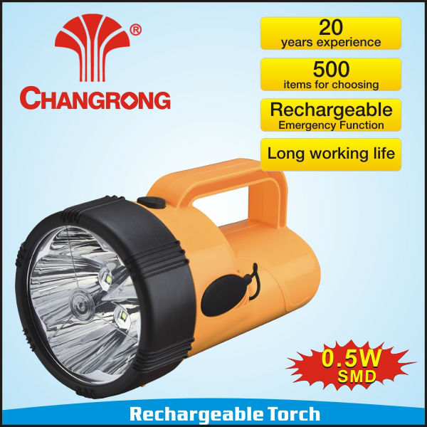 Outdoor Plastic Rechargeable Emergency High power Led Torch/Flashlighting