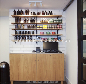 hair salon counter furniture with hair salon mirror station, armchairs and wallpaper for hair salon store design